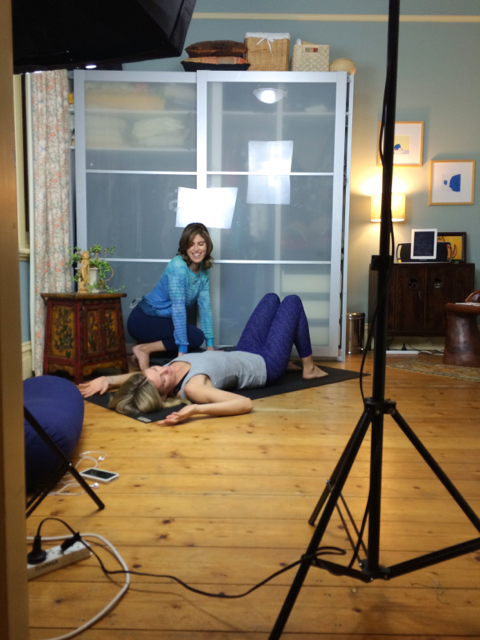Jennifer films an episode on Yin Yoga for QCTV